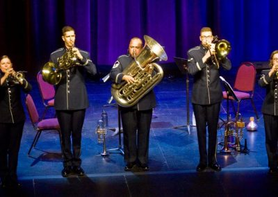 The U.S. Air Force Airlifter Brass utilized trumpet, horn and percussion to deliver patriotic favorites in the Paramount.