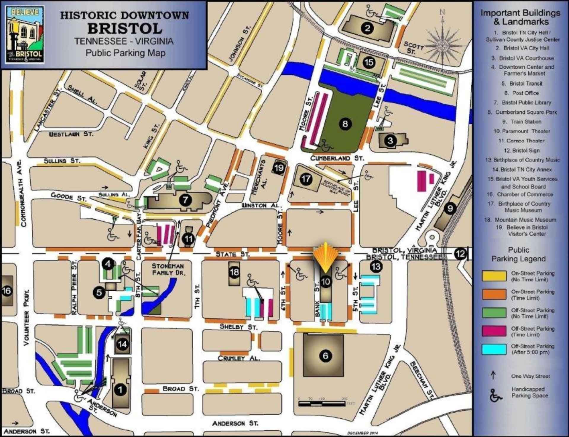 A map of historical downtown Bristol shows available parking, attractions, important buildings and landmarks.